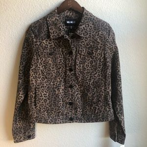 WilliamRAST leopard animal print denim jean jacket